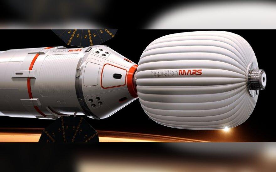 """Taip galėtų atrodyti """"Inspiration Mars"""" erdvėlaivis"""