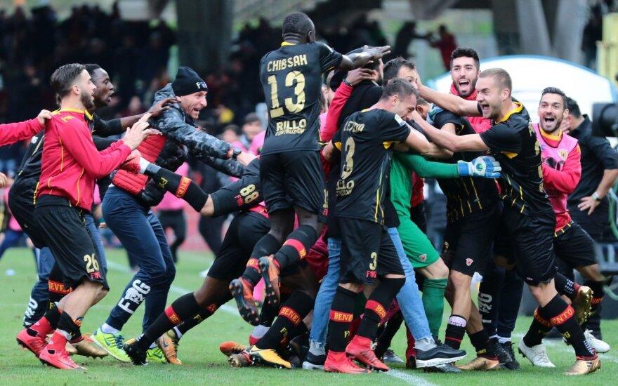 """""""Benevento"""" komandos džiaugsmas po išlyginamojo įvarčio"""