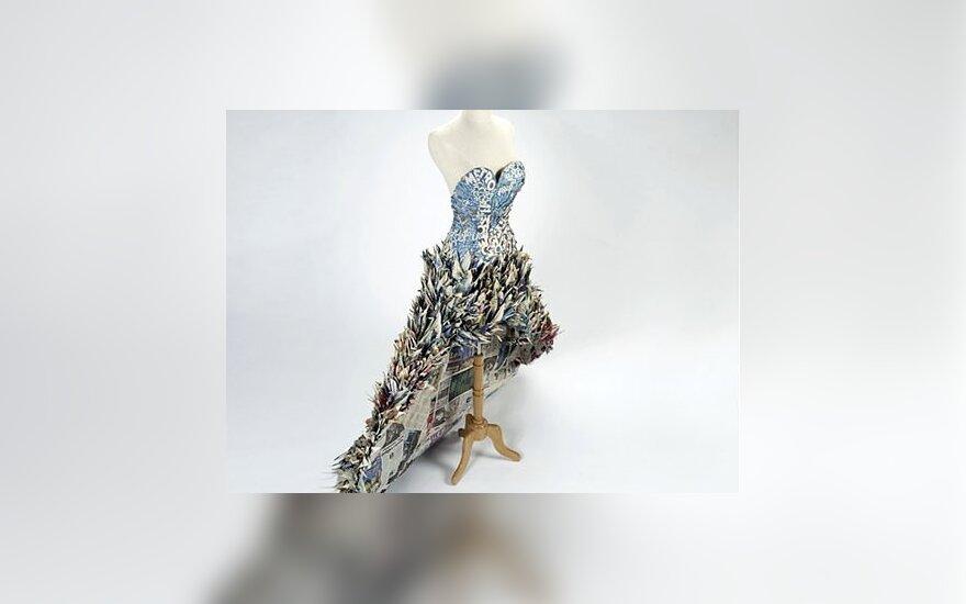 Suknelė iš popierinių gervių. Dizianas Yuliya Kyrpo. treehugger.com nuotr.
