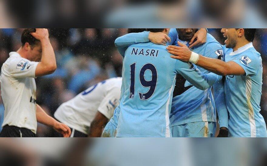 """Džiūgauja """"Man City"""" futbolininkai"""