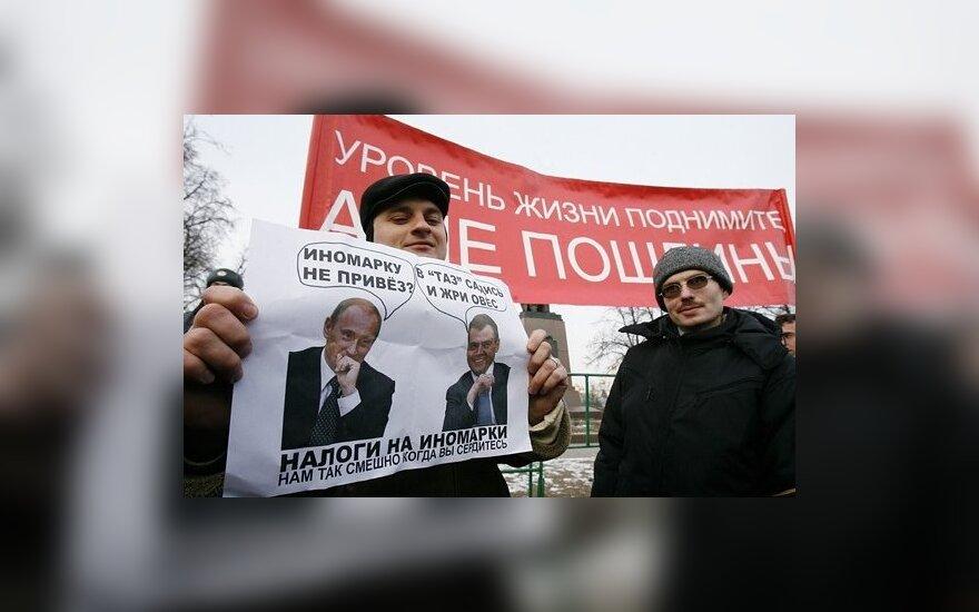 Sankt Peterburge sulaikyti protestuotojai, reikalavę D. Medvedevo atsistatydinimo