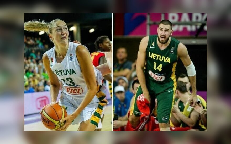 Both Gintarė Petronytė and Jonas Valančiūnas added to their previous LKF player of the year awards. Photo courtesy of DELFI.