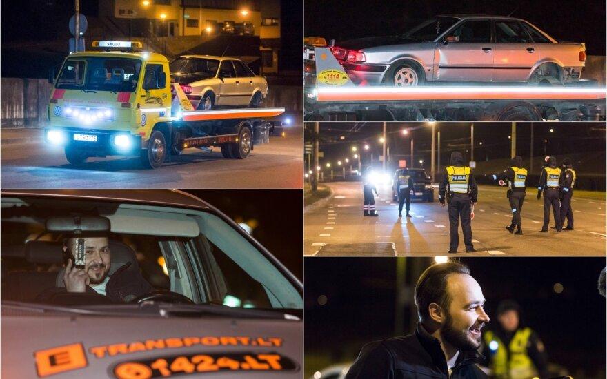 Naktis sostinėje: pavojus žmonių gyvybėms – ant geležinkelio bėgių buvo paliktas automobilis