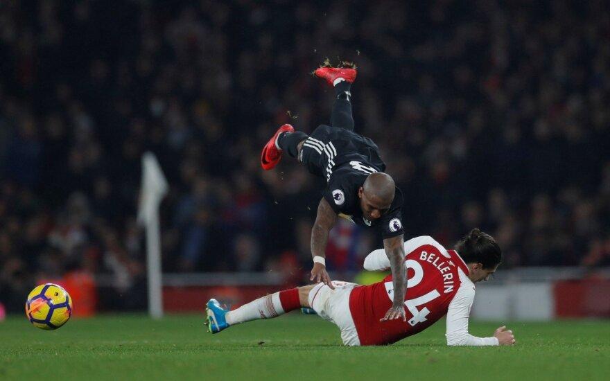 """""""Premier"""" lyga, """"Arsenal"""" – """"Man United"""" rungtynių akimirka"""