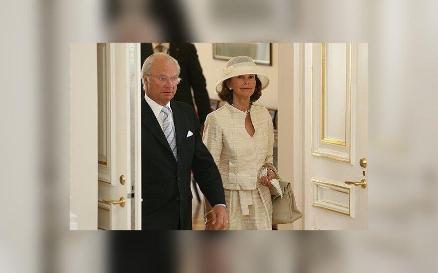 Švedijos karalius Karlas Gustavas XVI su karaliene Silvija