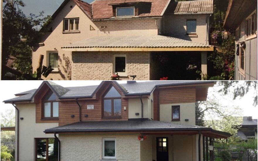Susisiekimo ministro J. Narkevičiaus gyvenamasis namas Trakuose prieš ir po renovacijos.