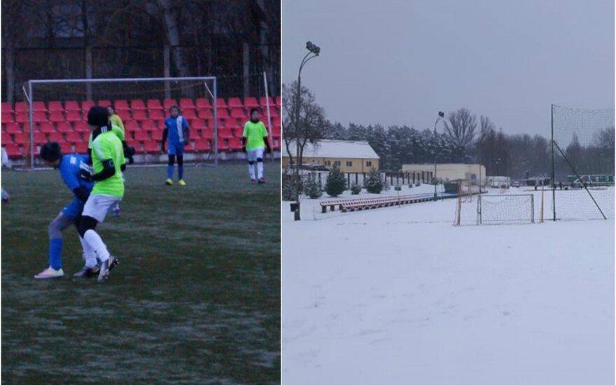 Šeštadienį vaikai dar gainiojo kamuolį Panevėžyje, o sekmadienį varžybos buvo atšauktos dėl sniego (DELFI skaitytojo ir LVJFA nuotr.)