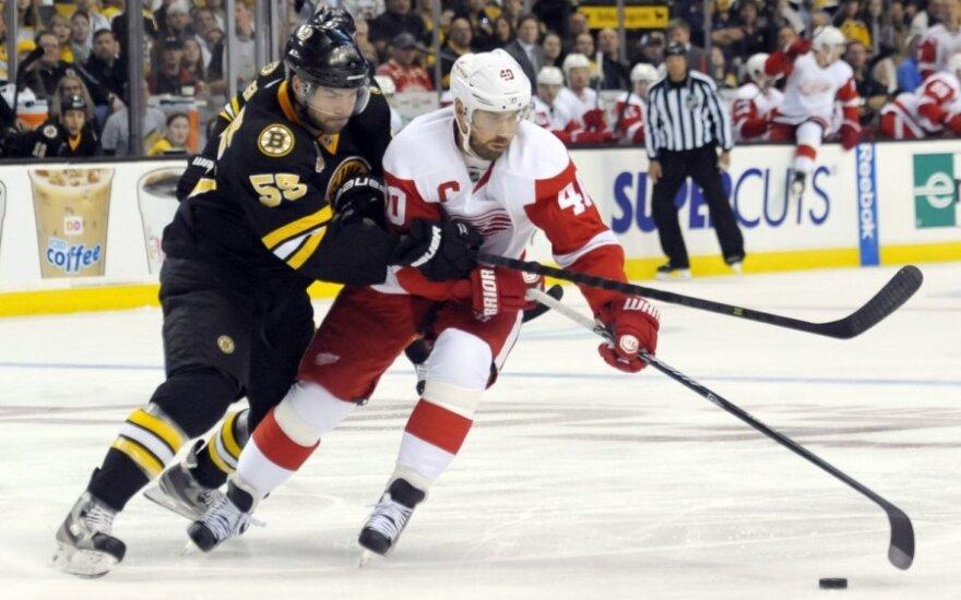 "Johnny Boychukas (""Bruins"", kairėje) kovoja su Henriku Zetterbergu"