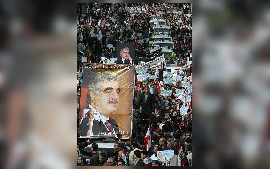 Libaniečiai gedi dėl buvusio premjero Rafiko al-Haririo žūties