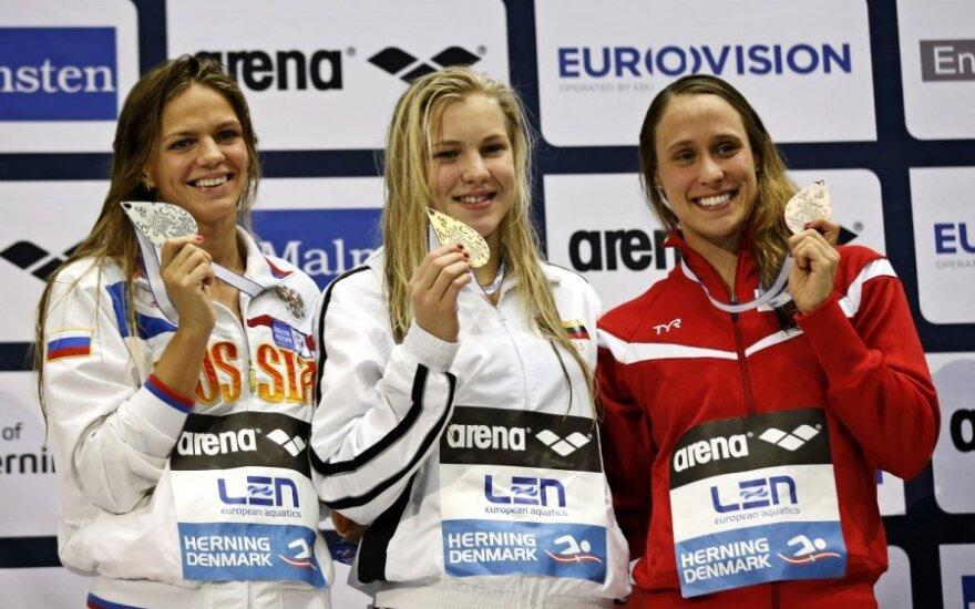 J. Jefimova, R. Meilutytė ir R. Moller Pedersen