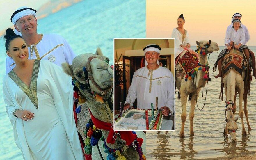 Inga Budrienė vyrui surengė gimtadienį Egipte