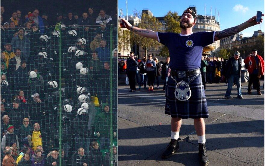 2015 metais policija malšino muštynes tarp lietuvių ir anglų sirgalių, šįkart į Vilnių atkeliauja keli tūkstančiai škotų (Foto: Vida press ir Getty images)
