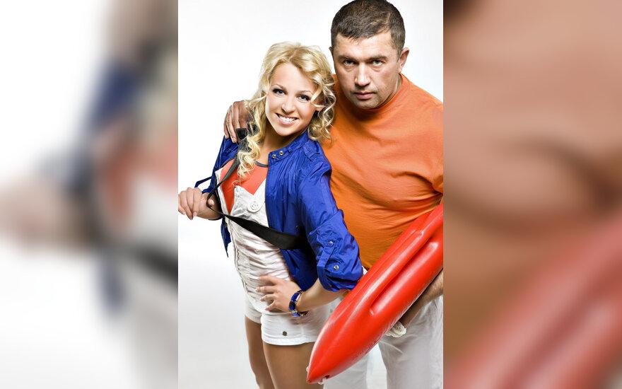 """TV3 laidos """"Gelbėtojų stotis"""" vedėjai Viktorija Perminaitė ir Jonas Pirožnikas"""