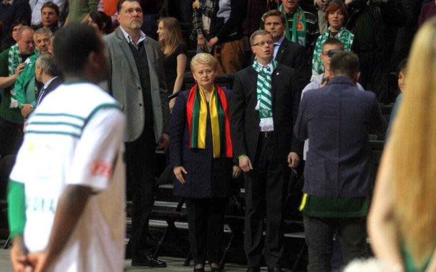 Dalia Grybauskaitė krepšinio rungtynėse