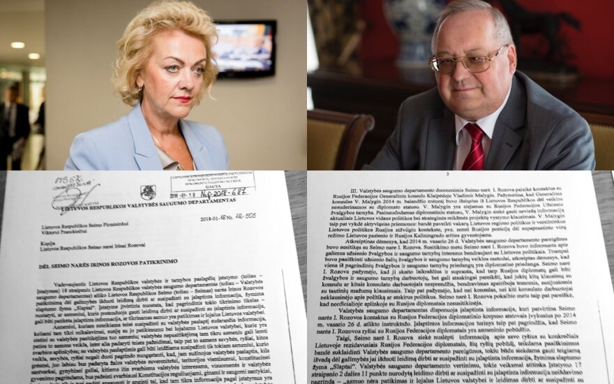 VSD pažyma dėl Rozovos: su Rusijos diplomatais derino ir partijos programą, ir koalicijos galimybes