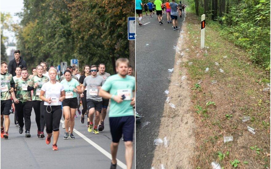 Po maratono trasoje liko plastiko atliekų