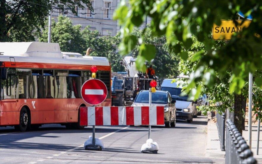 Kelio darbai centrinėje Kauno dalyje