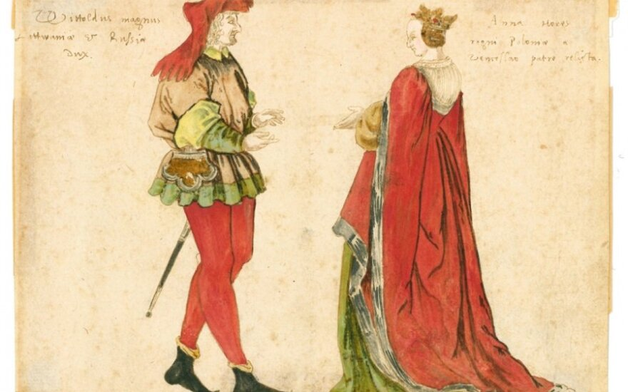 Vytautas the Great (1350–1430) and Duchess Ona (1392–1418) by unknown German illustrator, 16-century drawing