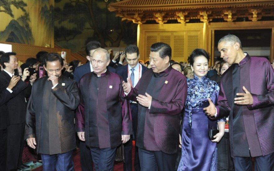 APEC 2014 m. Kinija. B. Obama, Xi Jinping, V. Putinas