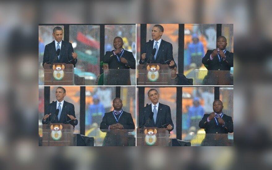 N. Mandelai skirtos ceremonijos vertėjas į gestų kalbą buvo apsimetėlis