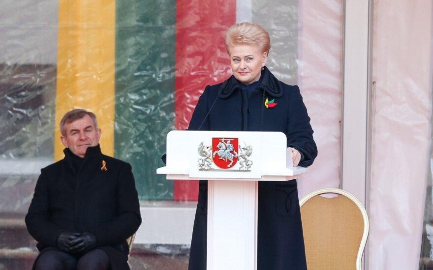 Trijų Baltijos valstybių vėliavų pakėlimo ceremonija Simono Daukanto aikštėje, Vilniuje. Lietuvos Respublikos Prezidentės Dalios Grybauskaitės kalba