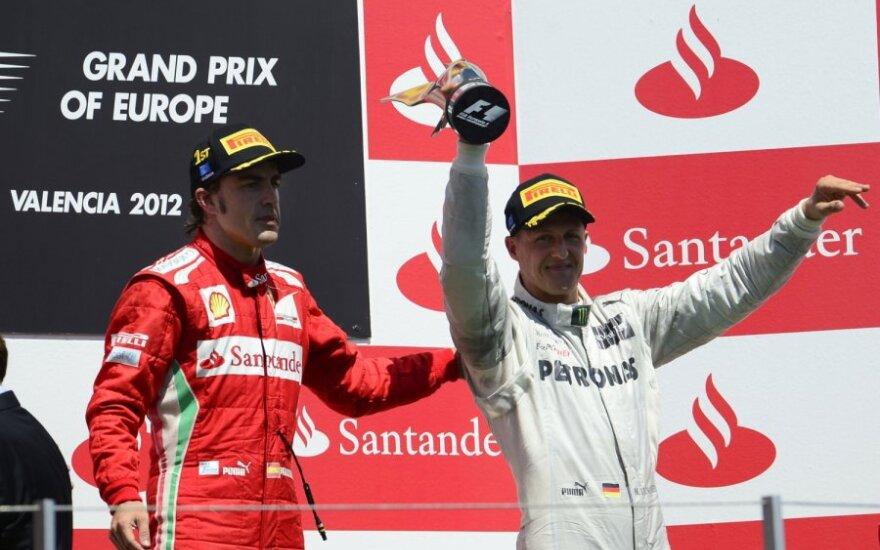 Fernando Alonso ir Michaelis Schumacheris
