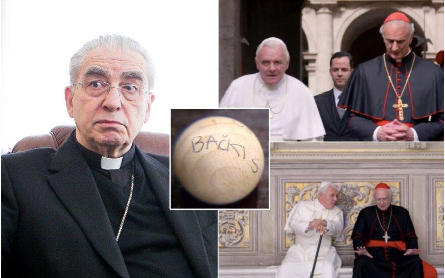 """Kardinolas Audrys Juozas Bačkis ir filmo """"The Two Popes"""" herojai / Foto: DELFI, stopkadrai"""
