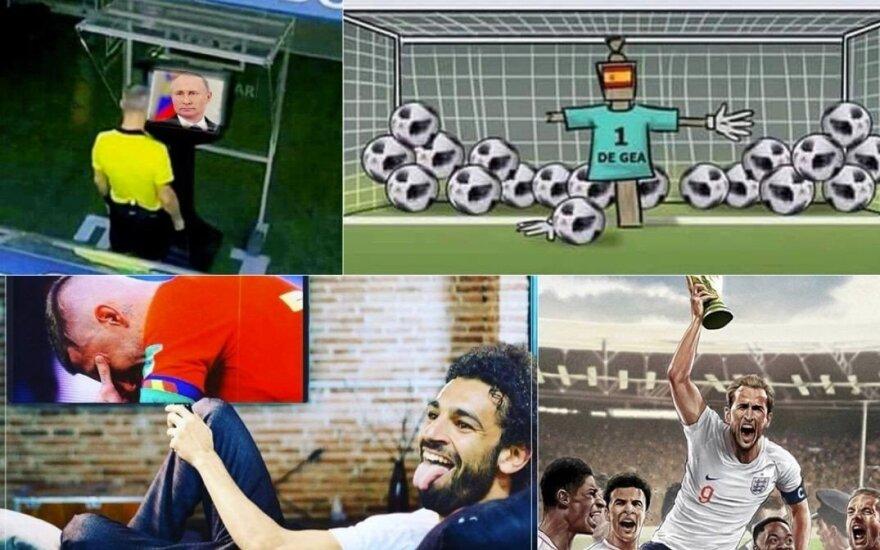 Po rusų triumfo – memų lavina: VAR veidas Putinas, vartininkas-kaliausė ir anglai finale
