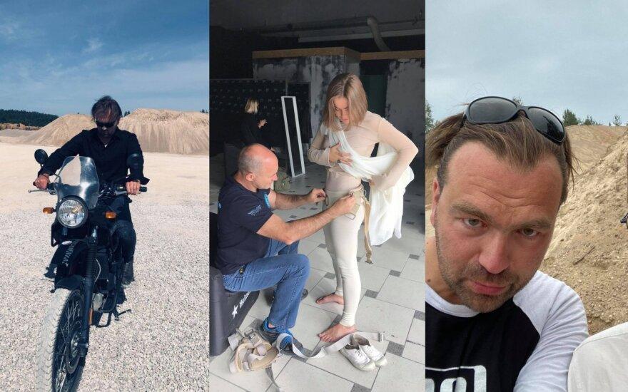 """Grupė """"Sinstation"""" ir Gabrielė Vilkickytė / Foto: iš vaizdo klipo filmavimo"""