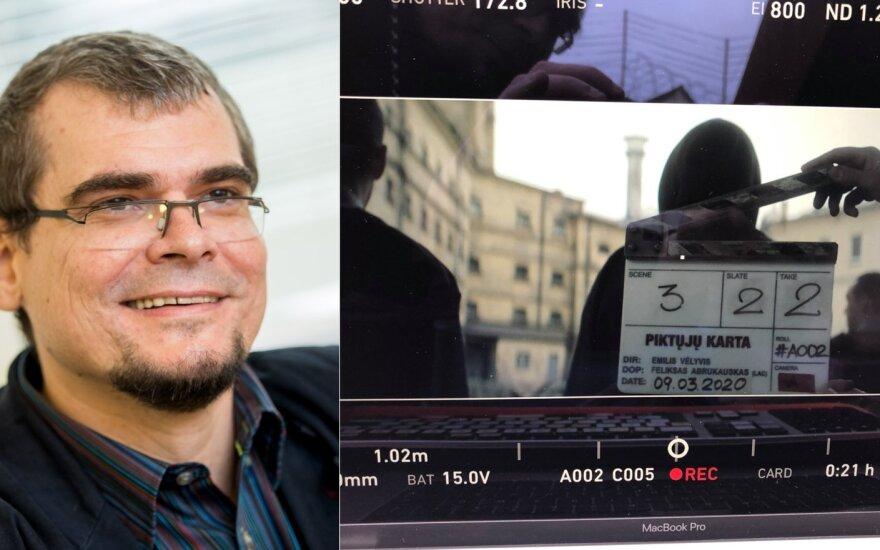 "Emilis Vėlyvis, filmo ""Piktųjų karta"" filmavimas /Foto: Delfi ir Facebook"