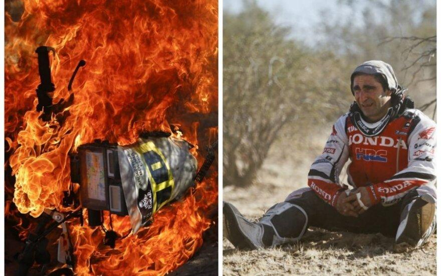 Paolo Goncalveso motociklas sudegė trasoje