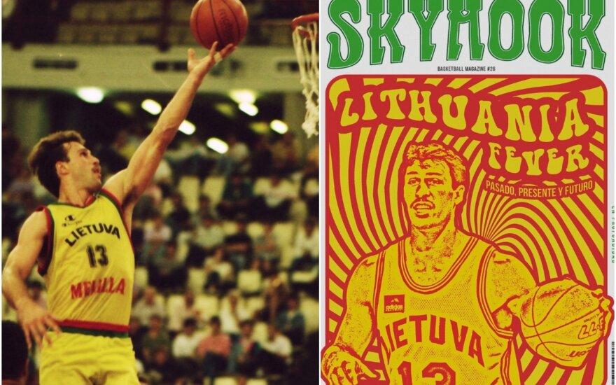"""Šarūnas Marčiulionis 1992-aisiais ir ant """"Skyhook"""" žurnalo viršelio / Foto: Mariano Pozo"""