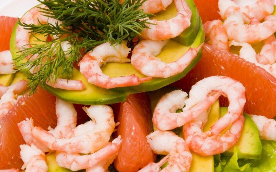 Krevečių salotos su greipfrutais
