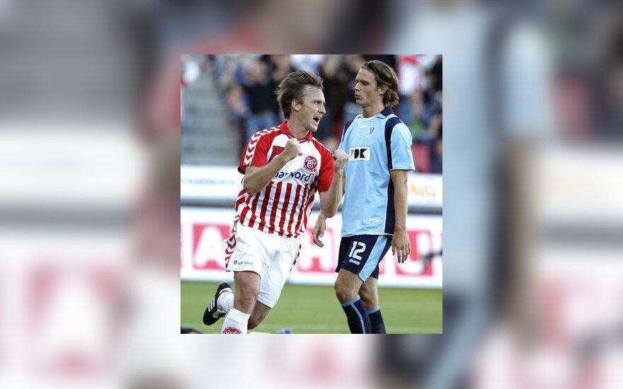 """Andreasas Johanssonas (""""Aalborg"""") džiaugiasi įvarčiu"""