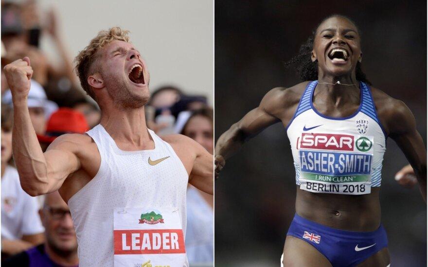 Prancūzijos dešimtkovininkas Kevinas Mayeris ir Didžiosios Britanijos bėgikė Dina Asher-Smith