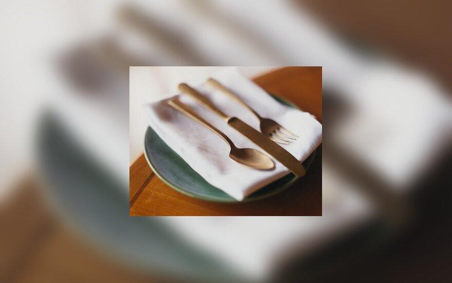Restoranas, kavinė, maistas, įrankiai, lėkštė, stalas, servyruoti