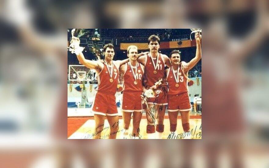 Šarūnas Marčiulionis, Rimas Kurtinaitis, Arvydas Sabonis and Valdemaras Chomičius