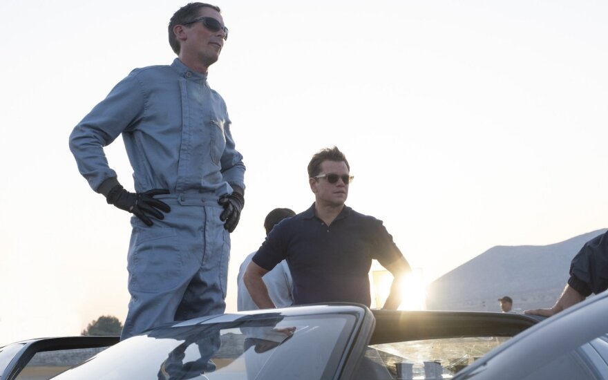 "Kadras iš filmo ""Le Manas'66. Plento karaliai"", Christian Bale, Matt Damon"