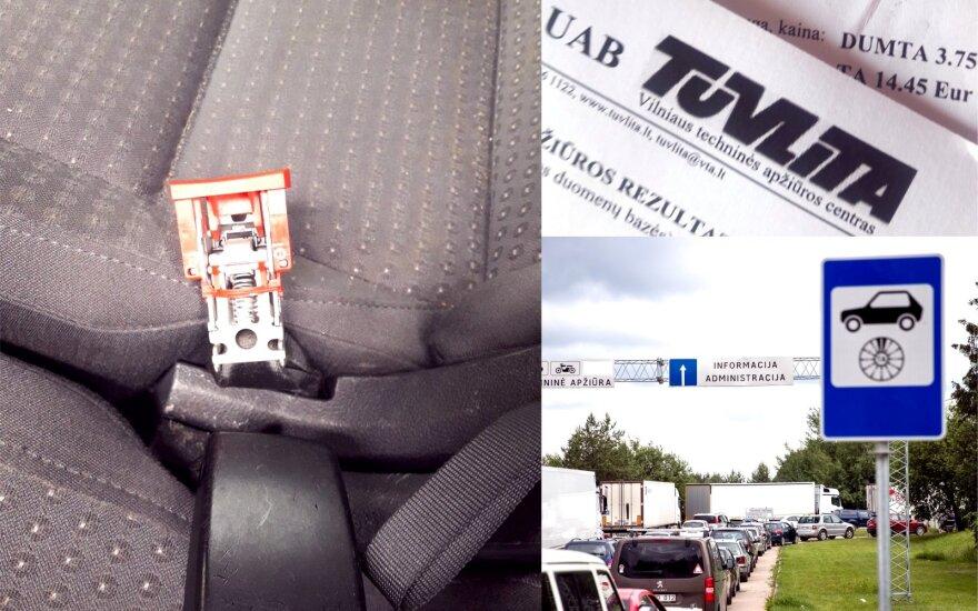 Techninėje apžiūroje – akibrokštas dėl saugos diržo sagties: kontrolieriui automobilis įtiko tik iš trečio bandymo
