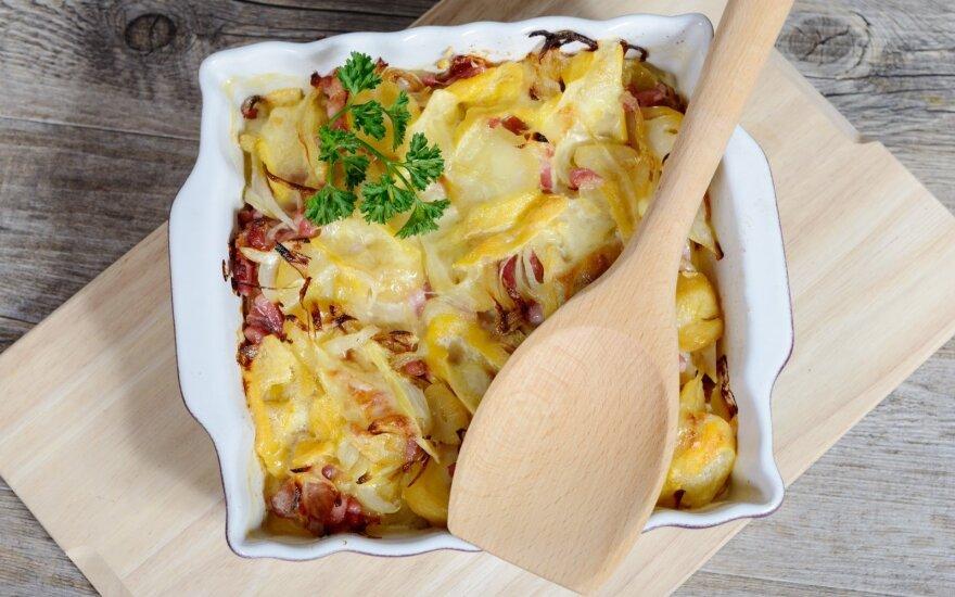 Prancūziškas bulvių ir svogūnų apkepas