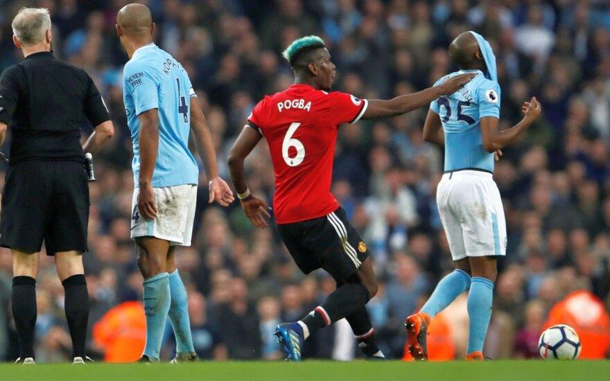 """""""Man City"""" išbarstė dviejų įvarčių persvarą ir pralaimėjo derbį """"Man United"""""""