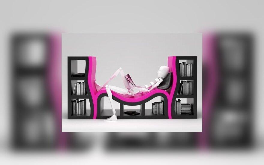 Knygų lentyna su niša skaitymui
