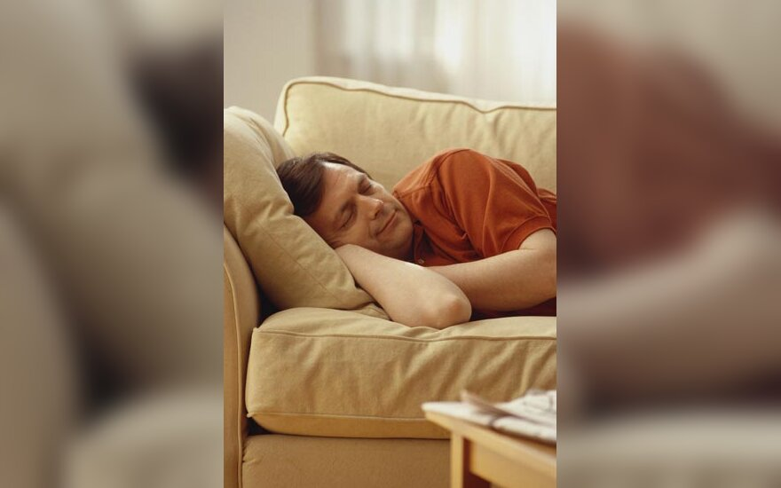 Sofa, baldai, lova, poilsis, miegas, vyras miega