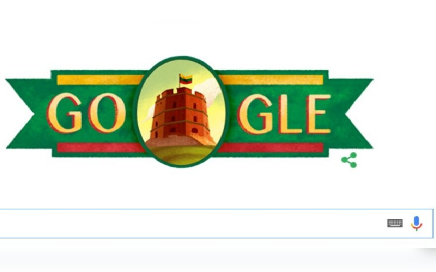 Google congratulates Lithuania with Gediminas Castle logo on February 16