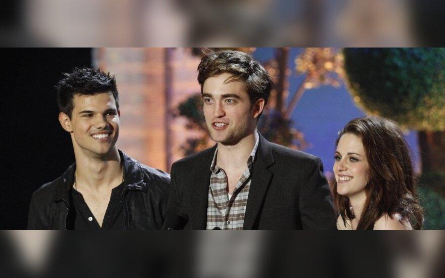 Taylor Lautner, Robert Pattinson ir Kristen Stewart