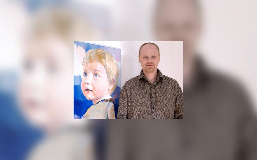 Vilmantas Marcinkevičius prie Danijos mažojo princo Felikso portreto