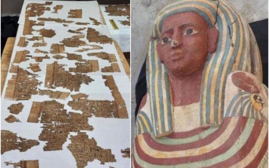 """Šalia senovės Egipto piramidės – mįslingi ir itin vertingi radiniai: rado net """"Mirusiųjų knygos"""" ištrauką"""