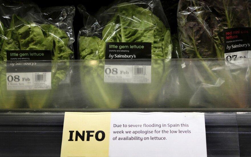 Jungtinėje Karalystėje apribojo prekybą salotomis ir brokoliais