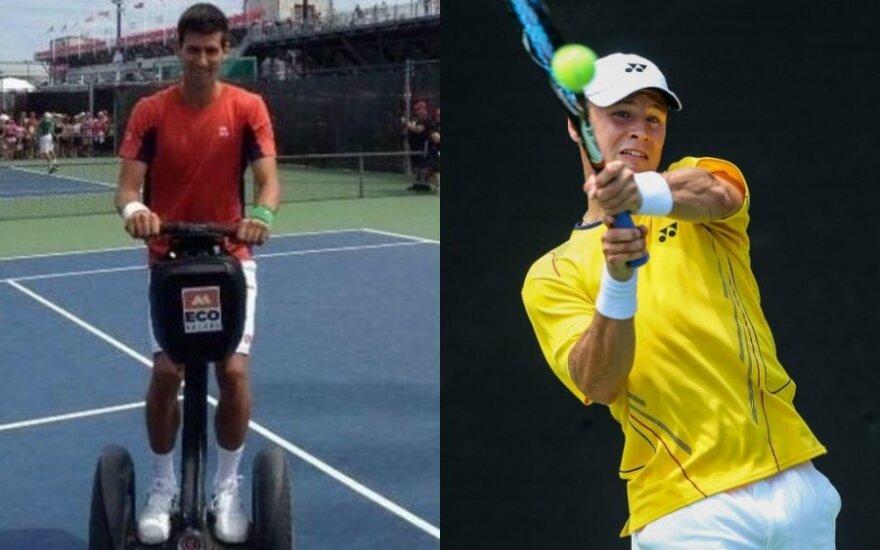 Novakas Djokovičius ir Ričardas Berankis (DELFI fotokoliažas)