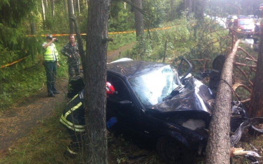 Nemenčinės pl. du BMW rėžėsi į medžius, vienas vairuotojas sunkiai sužalotas, kitas pabėgo